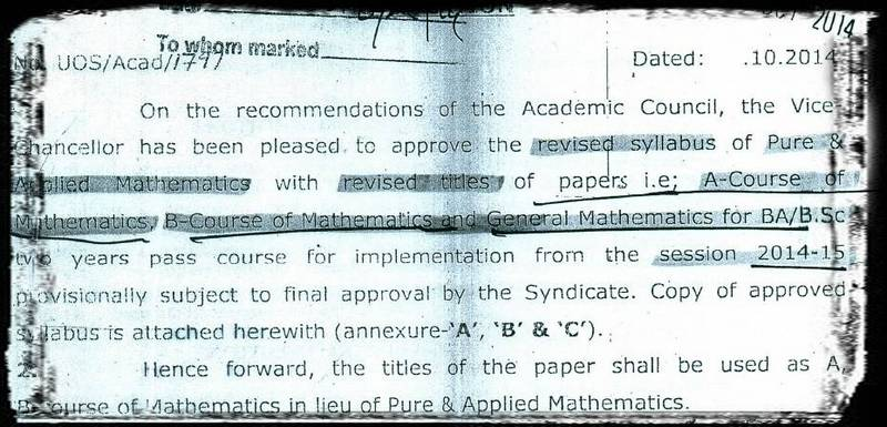 Syllabus/Model Papers for Sargodha University [MathCity org]