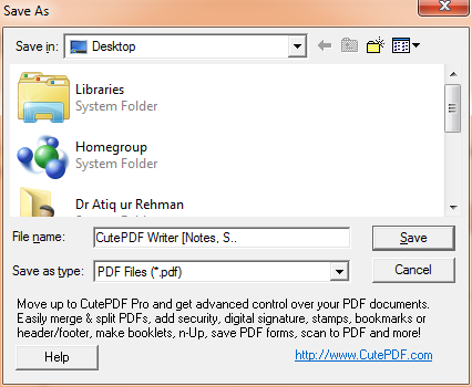 CutePDF Writer save window