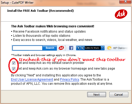 Please unchecked if you don't want to install toolbar.
